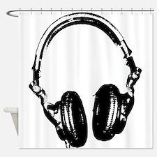 Dj Headphones Stencil Style T Shirt Shower Curtain