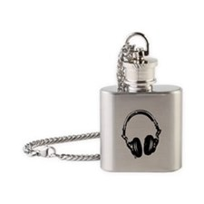 Dj Headphones Stencil Style T Shirt Flask Necklace