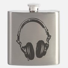 Dj Headphones Stencil Style T Shirt Flask