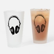 Dj Headphones Stencil Style T Shirt Drinking Glass