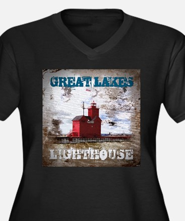 Great Lakes Lighthouse Women's Plus Size V-Neck Da
