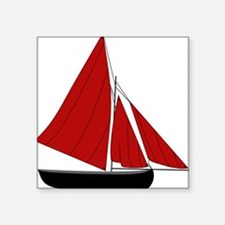 "Red Sail Boat Square Sticker 3"" x 3"""