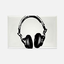 Dj Headphones Stencil Style T Shirt Rectangle Magn