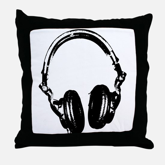 Dj Headphones Stencil Style T Shirt Throw Pillow