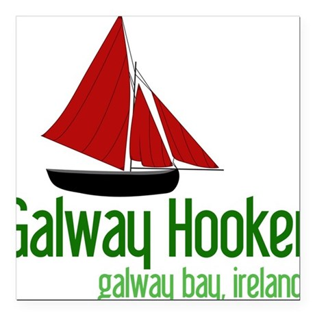 """Galway Hooker Square Car Magnet 3"""" x 3"""""""
