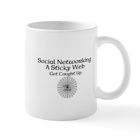 Social Networking A Sticky Web Get Caught Up Mug
