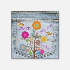 "Denim Pocket Peace Love Hope Square Sticker 3"" x 3"