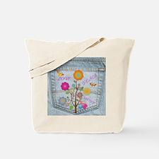 Denim Pocket Peace Love Hope Tote Bag