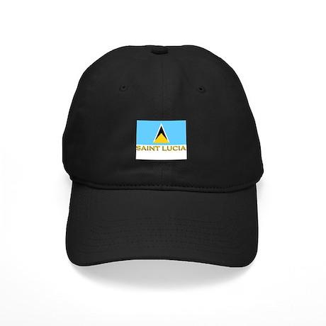 Saint Lucia Flag Stuff Black Cap