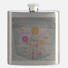 Denim Pocket Peace Love Hope Flask