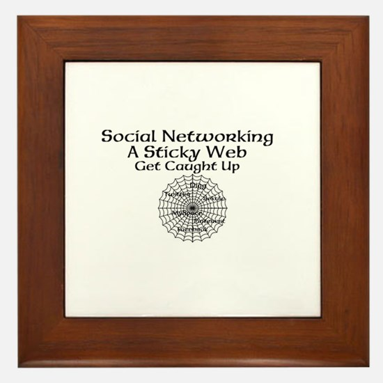 Social Networking A Sticky Web Get Caught Up Frame