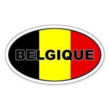 Belgian Flag Oval Decal