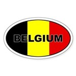 Belgian Flag Oval Sticker