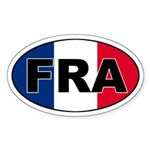 French (FRA) Flag Oval Sticker