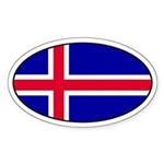 Icelandic Flag Oval Sticker