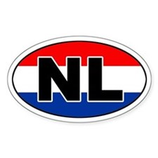 Dutch / The Netherlands (NL) Flag Oval Bumper Stickers