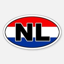 Dutch / The Netherlands (NL) Flag Oval Decal