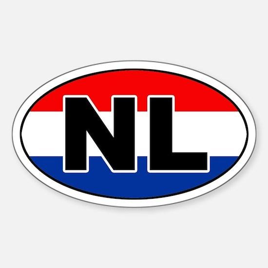 Dutch / The Netherlands (NL) Flag Oval Decal