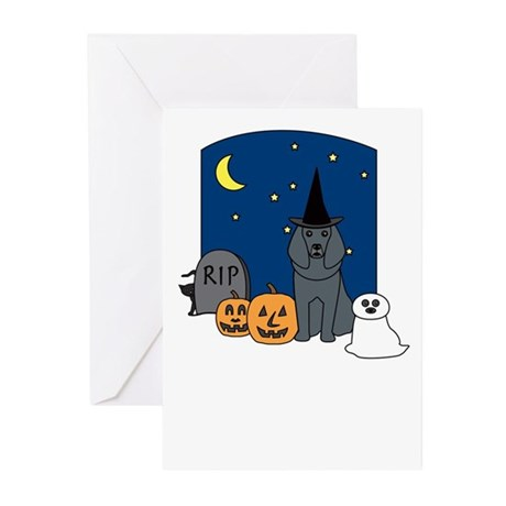 Blue Poodle Halloween Greeting Cards (Pk of 10)