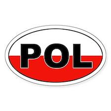 Poland (POL) Flag Oval Decal