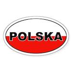 Poland (Polska) Flag Oval Sticker