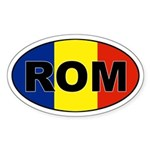 Romanian (ROM) Flag Oval Sticker