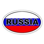 Russia Flag Oval Sticker