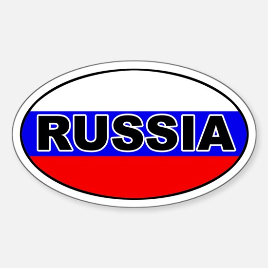 Russia Flag Oval Decal