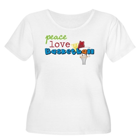 Peace Love Basketball Women's Plus Size Scoop Neck