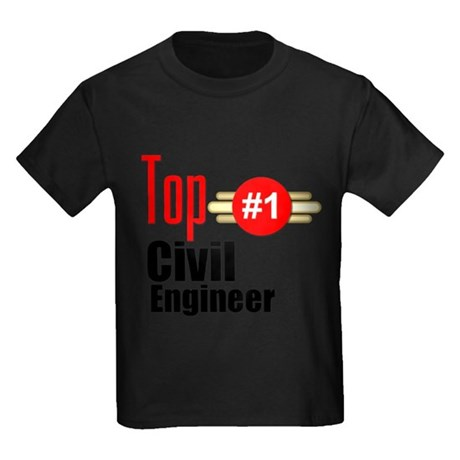 Top Civil Engineer Kids Dark T-Shirt