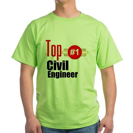 Top Civil Engineer Green T-Shirt