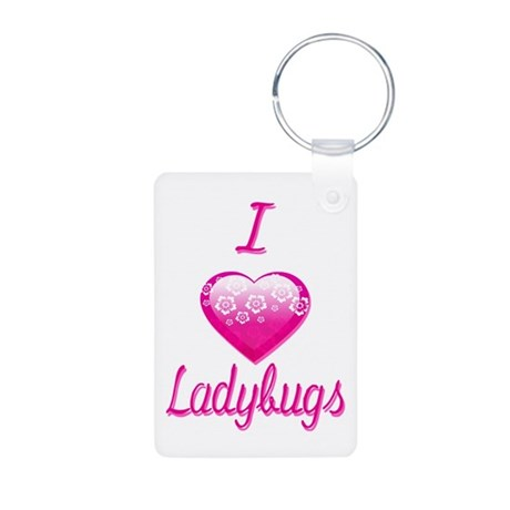 I Love/Heart Ladybugs Aluminum Photo Keychain