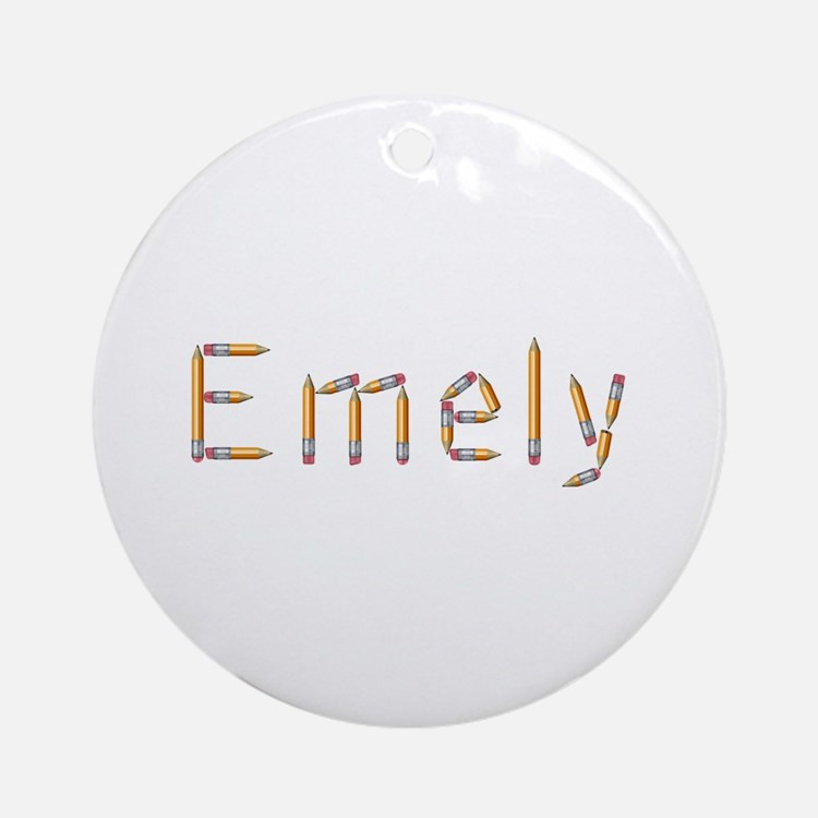 Emely Pencils Round Ornament