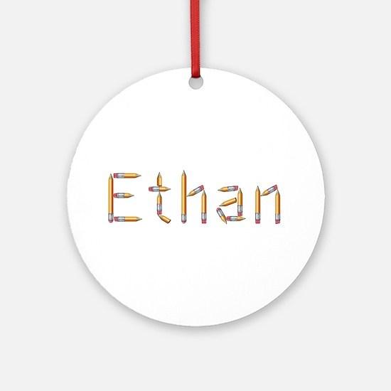 Ethan Pencils Round Ornament