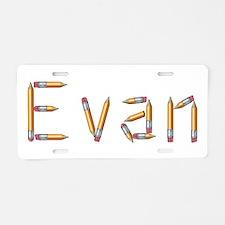 Evan Pencils Aluminum License Plate
