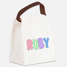 Ruby Rainbow Pastel Canvas Lunch Bag
