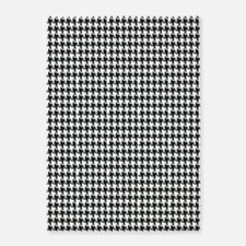 Black and White Houndstooth 5'x7'Area Rug