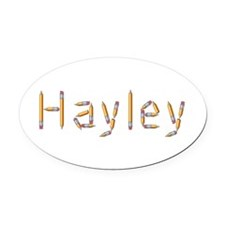 Hayley Pencils Oval Car Magnet