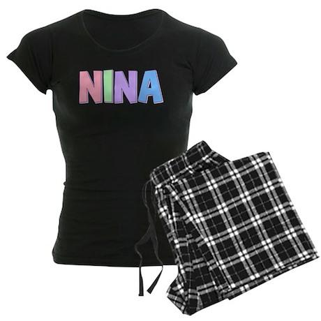 Nina Rainbow Pastel Women's Dark Pajamas