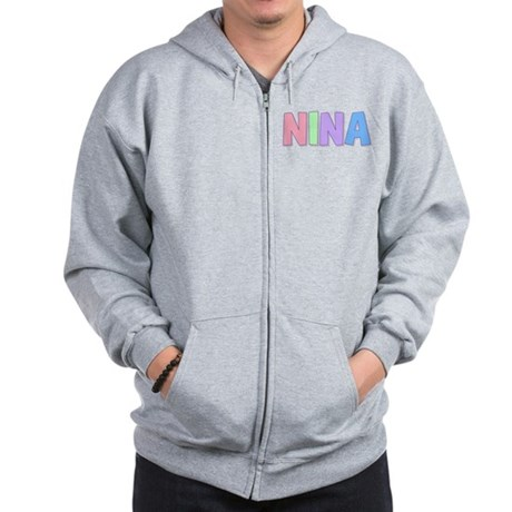 Nina Rainbow Pastel Zip Hoodie