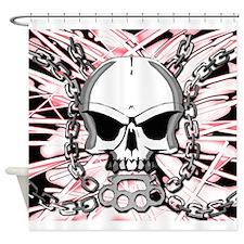Brass knuckles skull 2 Shower Curtain