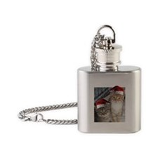 Christmas Tabby Cats Flask Necklace