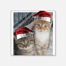 "Christmas Tabby Cats Square Sticker 3"" x 3"""