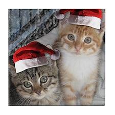 Christmas Tabby Cats Tile Coaster