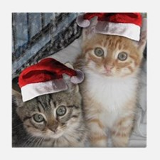 Christmas Tabby Cats Tile Coaster