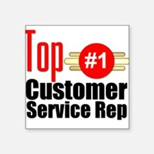 "Top Customer Service Rep Square Sticker 3"" x 3"""