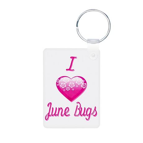 I Love/Heart June Bugs Aluminum Photo Keychain