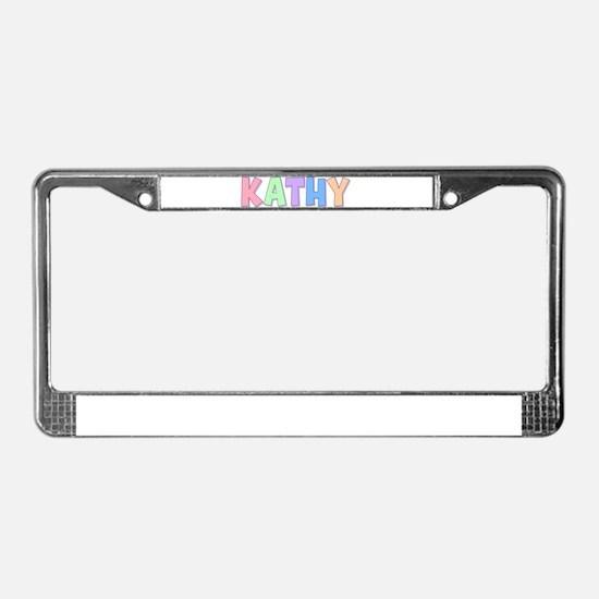 Kathy Rainbow Pastel License Plate Frame
