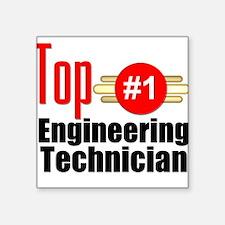 "Top Engineering Technician Square Sticker 3"" x 3"""