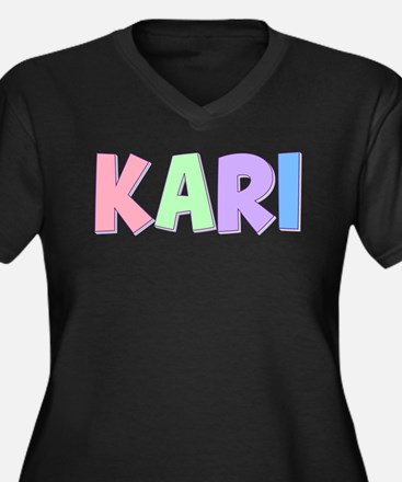 Kari Rainbow Pastel Women's Plus Size V-Neck Dark